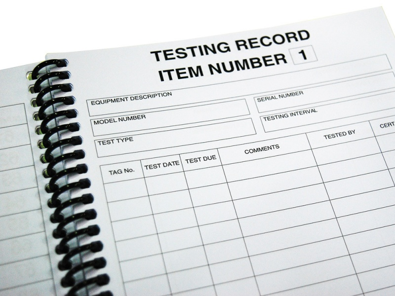 pat testing record sheet template - test and tag log book appliance testing supplies